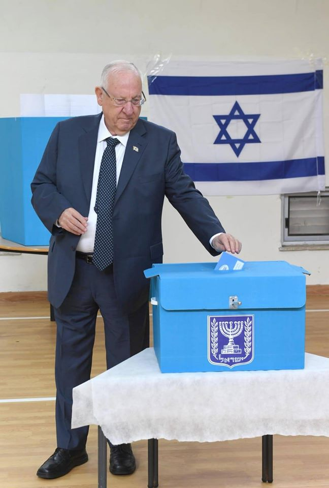 Preşedintele Israelului, Reuven Rivlin, în timpul votului