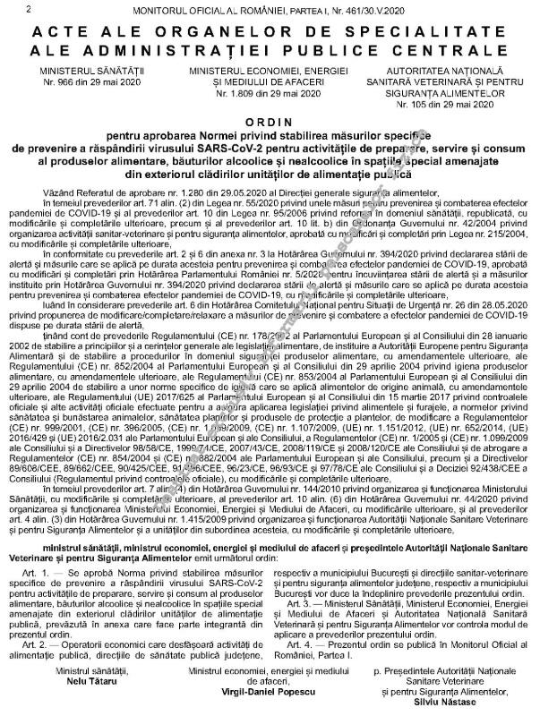 Ordinul comun privind fucționarea teraselor - Monitorul Oficial