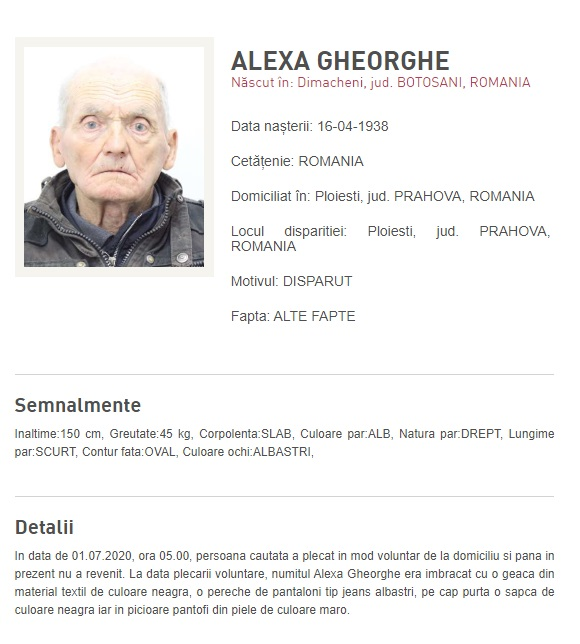 Bărbat în vârstă de 82 de ani, dispărut din Ploiești
