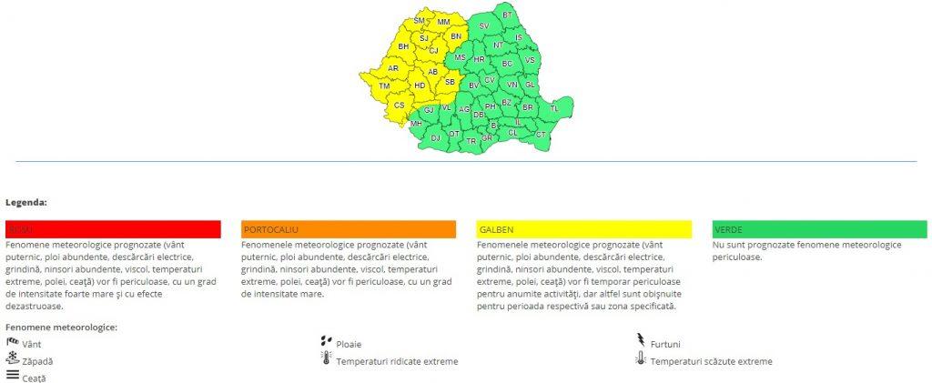 Meteorologii au făcut anunțul: Cod galben în mai multe zone din țară!