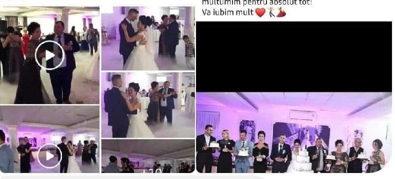 """Sezonul """"nunților COVID-19"""" în Bihor. O mireasă, asistentă medicală ATI, a fost diagnosticată cu boala după ce a avut peste 100 de invitați la eveniment - FOTO"""