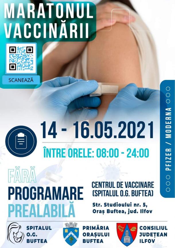 Maraton de vaccinare la Buftea: În perioada 14 - 16 mai te poți vaccinare fără programare