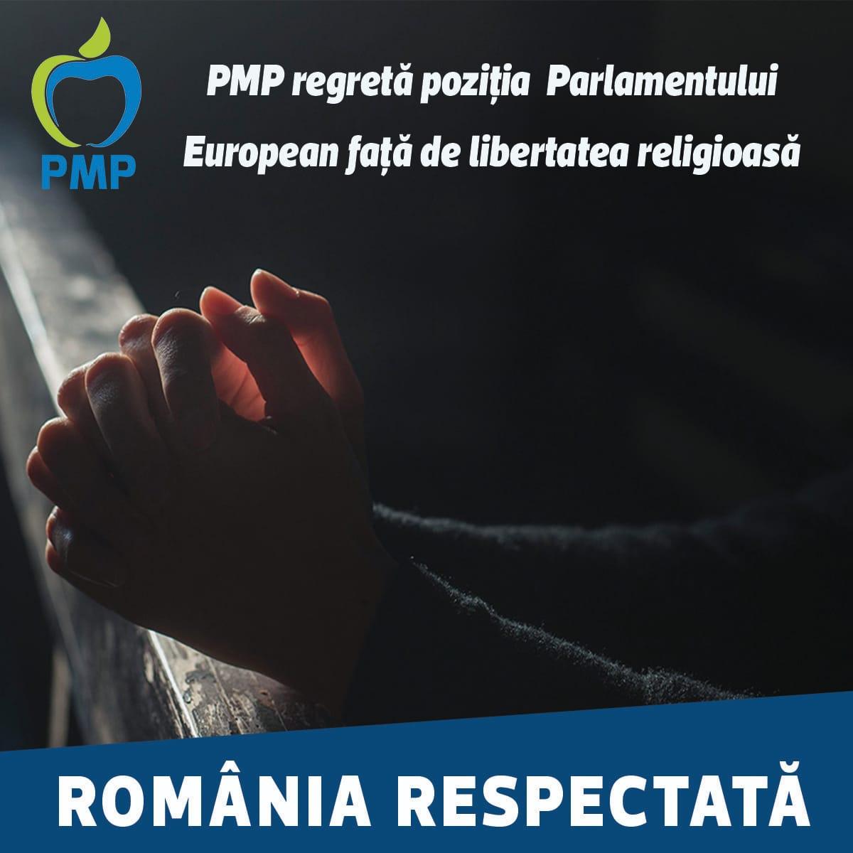 PMP regretă poziția Parlamentului European față de libertatea religioasă